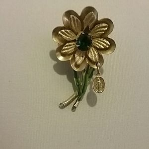 Vintage brooch with charm